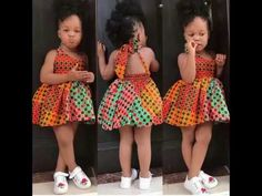 Latest Kids Wears Vintage African Wears For The Adorable Baby Girls. African Kids Are Beautiful And Are Uniquely Cute. Ankara Styles For Kids, African Dresses For Kids, African Children, African Fashion Dresses, African Wear, African Shirts, Blazer Fashion, Fashion Outfits, African American Fashion