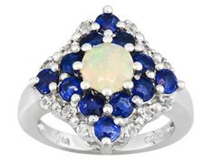 Ethiopian Opal And Nepalese Kyanite 2.50ctw And .25ctw Round White Topaz S/S Ring