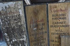 Old designs: Bradfax Mill in Bradford, West Yorkshire, where decaying signs can be seen for different departments such as floor coverings, cutlery and curtains Christmas In England, Yorkshire Uk, Textile Industry, Woolen Mills, Old Signs, Stunning Photography, Industrial Revolution, Bradford, Cutlery