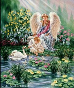 Dona Gelsinger, artist ~ lady angel ~ little girl angel ~ swan Angel Images, Angel Pictures, Yorkshire Rose, I Believe In Angels, Angels Among Us, Angels In Heaven, Guardian Angels, Angel Art, Fantasy Art