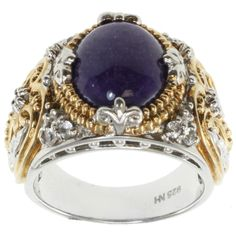 Purple jade and sapphire ringPalladium silver jewelryClick here for ring sizing guide