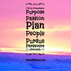7 P's to Prominence Purpose Passion Plan People Pursue Persevere Prevail!
