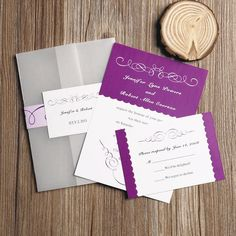radiant orchid purple pocket wedding invitations with free rsvp cards EWPI067 as low as $1.69