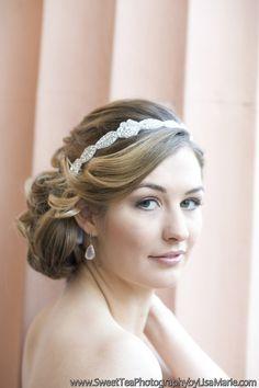 Glamorous wedding day updo idea - low, side chignon with sideswept bangs + jeweled headband {Allison Harper & Company, LLC)