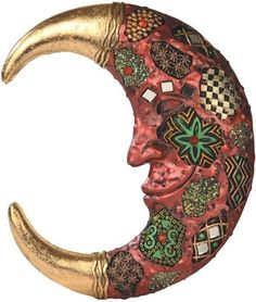 """Amazon.com: Custom & Unique {8"""" Inch} 1 Single, Home & Garden """"Standing"""" Figurine Decoration Made of Resin w/ Bohemian Detailed Southwestern Rustic Patterned Floral Moon Style {Gold, Red, Black & Green}: Home & Kitchen"""
