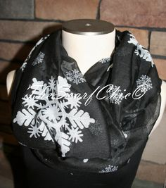You are looking at a Quality handmade Infinity Scarf! Super Cute!    Black Snowflake Print Infinity Scarf! 100% Viscose    Scarf is made of