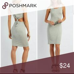 Sexy Cut Out Knot Back Bodycon midi Dress Brand New Soft Stretch Material in light Heather gray Perfect Sun Dress or a night at the club Midi length hits just above the knee Cut out open back Dresses Midi