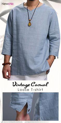 Mens Vintage Solid V-neck Half Sleeve Loose Casual T-Shirt Stylish Mens Fashion, Men's Fashion, Casual Shirts For Men, Men Casual, Casual Styles, Casual Outfits, Chinese Shirt, Kurta Men, Half Sleeve Shirts