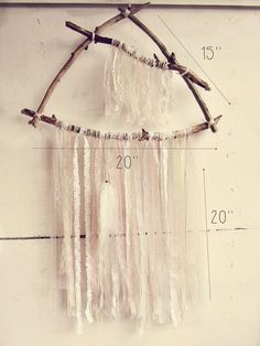 Made To Order   Triangle #boho wall hanging dreamcatcher.  Handmade of four driftwood branches, laces stripes and…