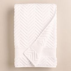 One of my favorite discoveries at WorldMarket.com: White Chevron Spa Bath  Towel