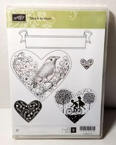 Stampin' Take it to Heart Rubber Stamp Bicycle Silhouette Bird Branch Banner #StampinUp #Background