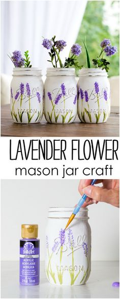 Creative DIY Mason Jar Projects with Tutorials Lavender Flower Painted Mason Jars. Mason Jar Flower Arrangements, Mason Jar Flowers, Mason Jar Plants, Mason Jar Garden, Mason Jar Vases, Floral Arrangements, Pot Mason Diy, Mason Jar Gifts, Wine Bottle Crafts