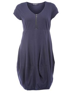Cotton dress with zipper  in Dark-Blue designed by Ultimate Miks