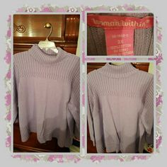 💙 Woman's Lavender Sweater Size 3X 💙 This is a beautiful sweater with a turtleneck collar in a pretty lavender color. The size is 3X which is equivalent to a 26/28. This is so comfortable and has some weight to it. The sweater has been worn and washed a few times but in great shape otherwise 🚫TRADES 🚫 PAYPAL 🚫 OFFERS PRICE IS FINAL 💙 woman within  Sweaters Cowl & Turtlenecks