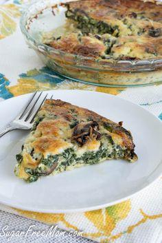 Crustless Mushroom Spinach Pie/ sugarfreemom.com
