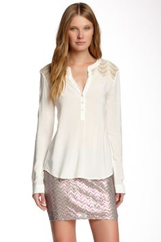 Scallop Lace Yolk Blouse by Ella Moss on @nordstrom_rack
