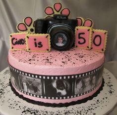 A camera birthday cake.