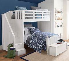 Belden Twin-Over-Full Stair Loft Bed For Kids | Pottery Barn Kids Kid Beds, Bunk Beds, Loft Beds, Extra Wide Dresser, Full Mattress, Full Bed, Pottery Barn Kids, Bedding Sets, Duvet Covers