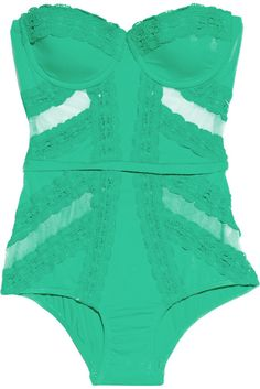bright green lace bustier and high waist shorts - sexy lingerie
