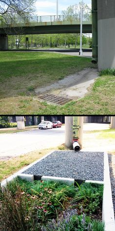 Highway Overpass Landscape Detention System (HOLDS) --> The staff at dland built a bioswale – essentially a planter that uses vegetation and soil to absorb water – that was carefully engineered to withstand the intense flow of contaminants from highway overpasses and designed with plant matter that thrives in low-light conditions. >> by the Regional Plan Association and dland Studio