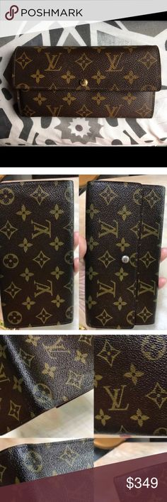 💕LOUIS VUITTON Monogram Sarah Long Wallet💕 💕💯%Guaranteed Authentic LOUIS VUITTON MONOGRAM SARAH INTERNATIONAL PORTEFEUILLE LONG WALLET in excellent pre owned condition. The only wear is on the side bottom edges which is minor. There is a small amount of wear in money slots as well. See pics. I'd give it a 8 out of 10 for condition. I just purchased a smaller one to go in my smaller purse.😎BUY WITH CONFIDENCE, I'm a Posh suggested seller and have my stats posted in my closet. ❌I WILL MOT…