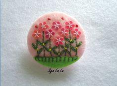 Felt Brooch, pink flower garden with light pink background  $4.50