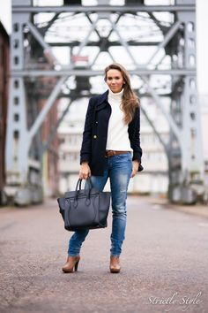 fall outfit navy coat celine ootd street style turtleneck sweater jeans