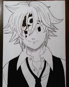 #nanatsunotaizaibrasil #anime #animes #manga #drawings #drawing #arte #art #artist #dbz #naruto #bleach #onepiece #n Anime Boy Sketch, Anime Drawings Sketches, Cool Drawings, Drawing Faces, Pencil Drawings, Otaku Anime, Manga Anime, Anime Art, Anime Character Drawing