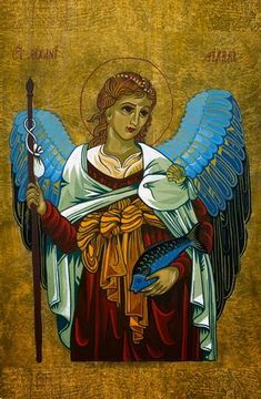Medieval style painting of Archangel Raphael by Bev Dunbar The Gilded Image D N Angel, Angel Art, Doreen Virtue, Angel Protector, Images Google, St Raphael, Angel Guide, San Rafael, Angels Among Us