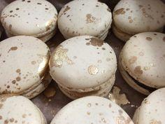 Aimee Lloyd Macarons Gold Splatter Macarons - White Chocolate and Coconut Ganache