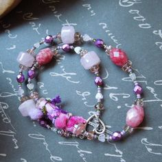 Pink Fabric Bead Necklace with Rose Quartz, Swaroski, and Various Pink Beads