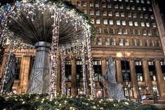 Chicago Board of Trade plaza at the holidays, photo by Matt Maldre (Chicago Pin of the Day, 12/4/2014).