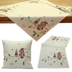 Cute Owl Christmas Table Cloth Cover Runner Cushion Cover Ivory Red Linen-look #Quinnyshop