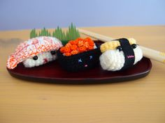 Crochet Sushi Set On a Plate
