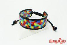 Geeky and stylish Tetris bracelet made with hama beads by MangoCats