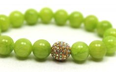 Lime Green Jade and Swarovski Crystals Pave Bead