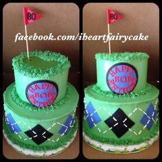 Golf themed two tier cake for an 80 year old birthday boy  Www.facebook.com/iheartfairycake