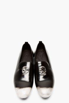 Alexander McQueen Black & White Logo-embossed Loafers for men | SSENSE