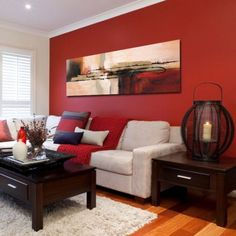 48 Elegant Living Room Decor Ideas With Red Color For Valentines Day - A few days ago I decided to renovate my home. Once I made up my mind to give a completely changed and stunning look to my home, several great ideas st. Living Room Decor Colors, Accent Walls In Living Room, Living Room Red, Living Room Color Schemes, Elegant Living Room, Living Room Paint, Living Room Designs, Paintings For Living Room, Bedroom Colors