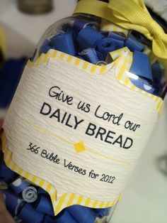 Daily Bread Scripture Jar: Craft Idea for Party. Save jars and get pretty papers!maybe add verses over time? Sunday School Teacher, Sunday School Crafts, Homemade Christmas, Christmas Gifts, Our Daily Bread, Mason Jar Crafts, Mason Jars, Bible Crafts, Jar Gifts