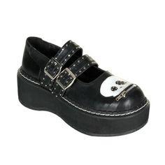 b8637f64b4fd41 Demonia EMILY-222 Black Gothic Mary Jane Shoes - Demonia Shoes Skull Shoes
