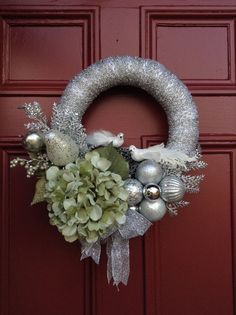 Winter Glittery Silver Wreath with Pale Green Hydrangea. Christmas, Holidays, Wedding. White Birds, Nest. Frosty, Fantasy. Winter Wedding.
