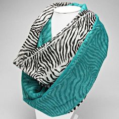 Teal Color-Block  Zebra Print Spring Scarf by NecksOfLuxuryScarfs