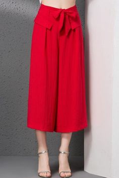#AdoreWe #Dezzal Dezzal Faux Pocket Solid Color Capri Pants - AdoreWe.com