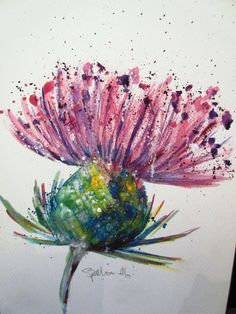Scottish Thistle. An original watercolour by LittleMrsArtist