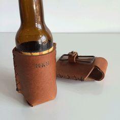 Forge Leather Beer Holder With Vintage Bottle Opener