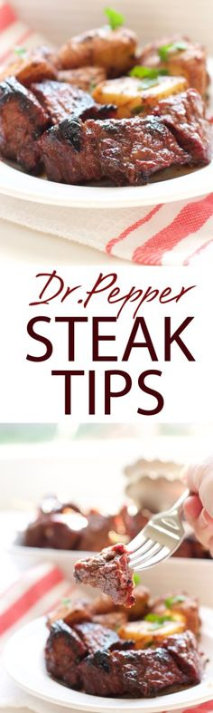 Dr. Pepper Steak Tips | A delicious Dr. Pepper Steak Tip marinade. Filled with sweetness and spicy kick of Dr. Pepper soda. A juicy steak bite to die for! | forkknifeandlove.com