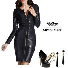 Leather luscious  This tight leather number is flattering on any figure. A fantastic dress for this season extravaganzas. #leatherdress #partydress #casadei #booties #earrings #rings #jewelry #fashion