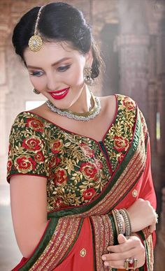 178524, Embroidered Sarees, Party Wear Sarees, Net, Shimmer, Faux Chiffon, Lace, Zari, Machine Embroidery, Resham, Red and Maroon, Green Color Family