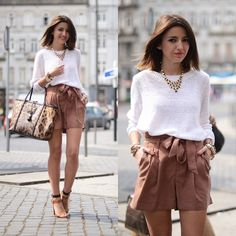 H&M Shorts, H&M Sweater, Dolce & Gabbana Bag, Zara Sandals